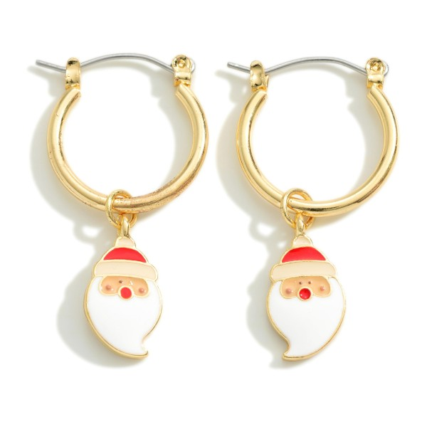 """Gold Tone Huggie Hoop Earring Featuring Santa Charm  - Approximately 1.5"""" Long"""