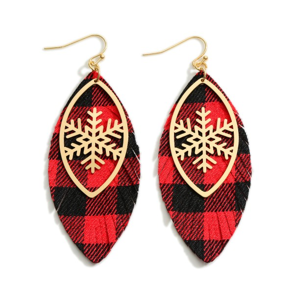 """Buffalo Check and Gold Tone Snowflake Feather Earrings  - Approximately 3"""" Long"""
