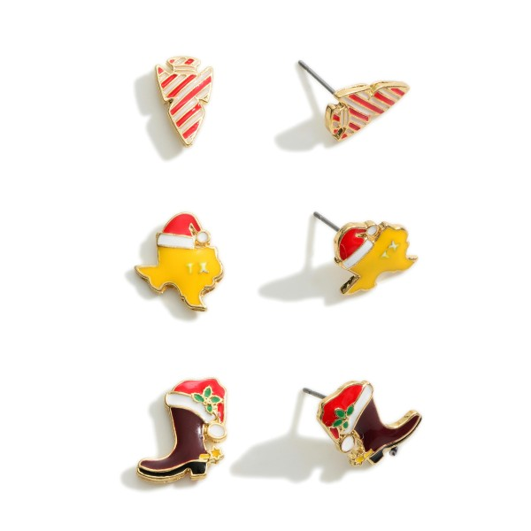 """Set of Three Texas Christmas Stud Earrings  - Approximately 0.35"""" Wide - 0.5"""" Wide"""