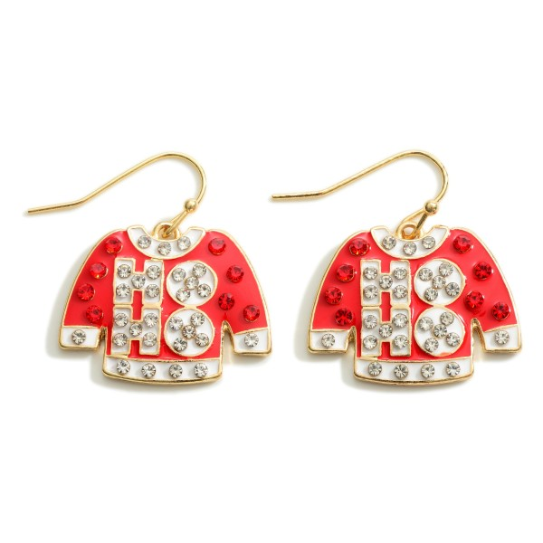 """HoHo Christmas Sweater Drop Earrings Featuring Rhinestone Accents  - Approximately 1"""" Long"""