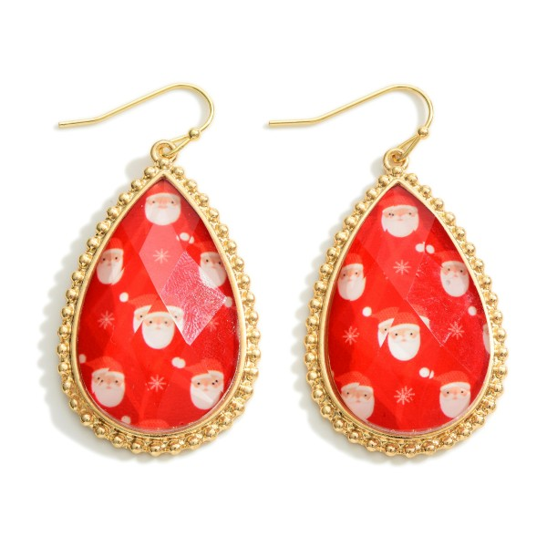 """Santa and Presents Glass Crystal Tear Drop Earrings  - Approximately 2"""" Long"""