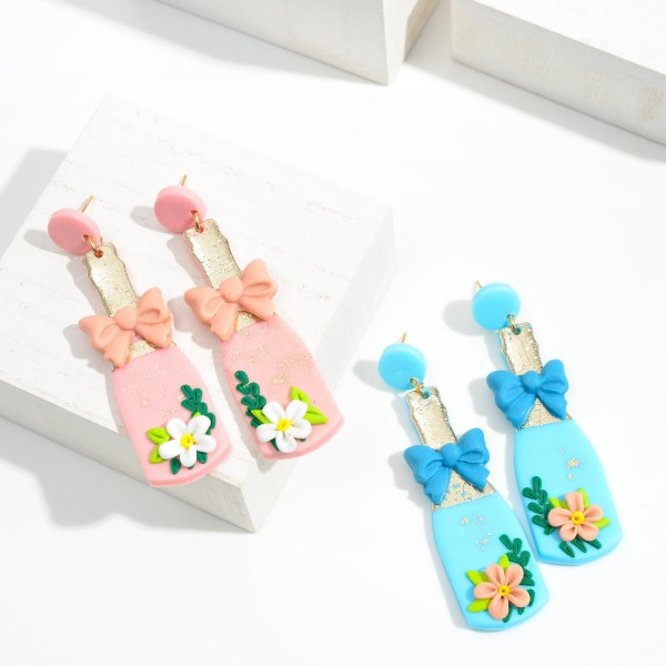 """Champagne Bottle Clay Earrings With Floral and Bow Details  - Approximately 2.5"""" Length"""