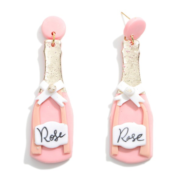 """'Rose' Wine Bottle Clay Earrings With Gold Foil Accents  - Approximately 3"""" Length"""