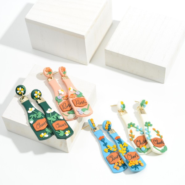 """'Cheers' Wine Bottle Polymer Clay Earrings With Floral Accents  - Approximately 3"""" Length"""
