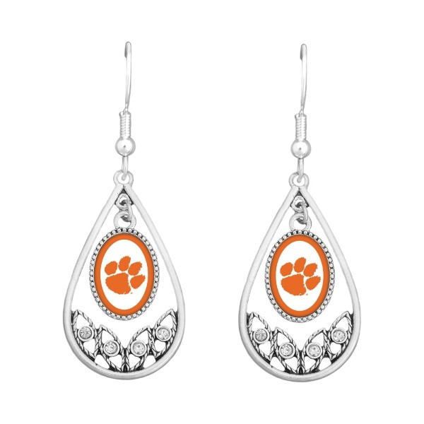 Polished Silver Tone Tear Drop Earrings with crystal rhinestones. Clemson University Logo. Officially Licensed Collegiate Product. (Earrings are Approx. 2.25 in L x 1 in W)