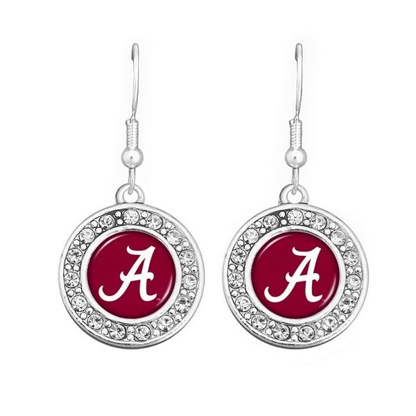 Officially Licensed Collegiate Product. University of Alabama Earrings. Round Polished Silver Tone with CZs. (Earrings are Approx..75 in Diameter). Comes in Textured Beige Gift Box with School Colors Background and Clear Plastic Box Cover.