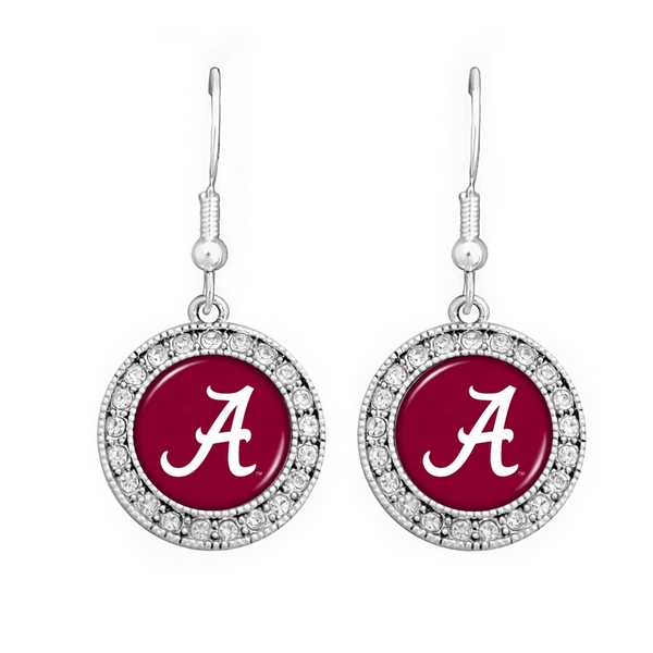 Officially licensed silver toned Alabama earrings with crystal rhinestones surrounding the logo.