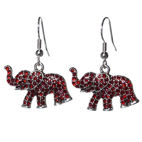 Silver toned fish hook earrings with .5 x 1 inch elephant focal encrusted with red rhinestones