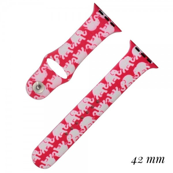 Elephant print silicone watch band for smart watches. Fits the 42mm size smart watch.