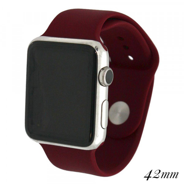 Wholesale solid burgundy silicone watch band smart watches Fits mm smart watch W
