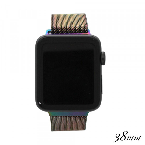 """Iridescent metal magnetic watch band for smart watches. Fits the 38mm size smart watch. Approximate 4"""" in length."""