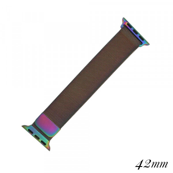 """Iridescent metal magnetic watch band for smart watches. Fits the 42mm size smart watch. Fits apple watch Approximate 5 1/2"""" in length."""
