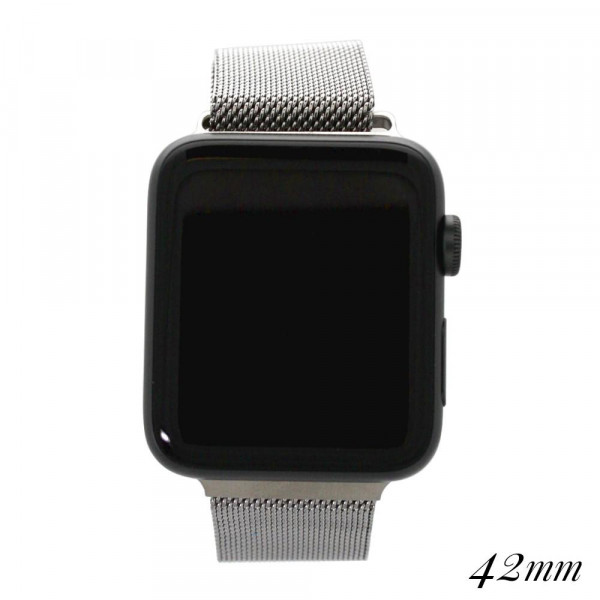 """Silver metal magnetic watch band for smart watches. Fits the 42mm size smart watch. Fits apple watch Approximate 5 1/2"""" in length."""