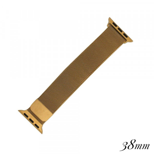Gold mesh watch band for smart watches. Fits the 38mm size smart watch.