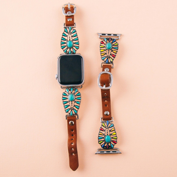 """Interchangeable faux leather watch band for smart watches featuring natural stone and enamel inspired details. WATCH NOT INCLUDED. Approximately 9.75"""" in length.  - 38mm - Adjustable closure"""