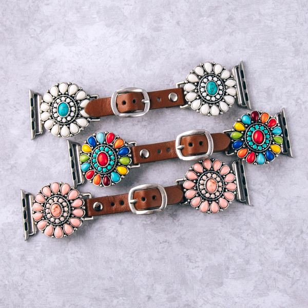"""Interchangeable faux leather watch band for smart watches featuring natural stone flower inspired details. WATCH NOT INCLUDED. Approximately 9.75"""" in length.  - 38mm - Adjustable closure"""
