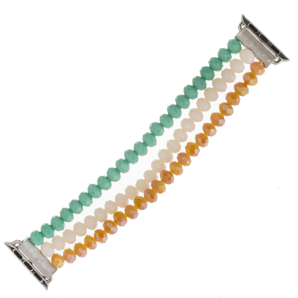 Wholesale interchangeable multicolor faceted beaded stretch smart watch band bra