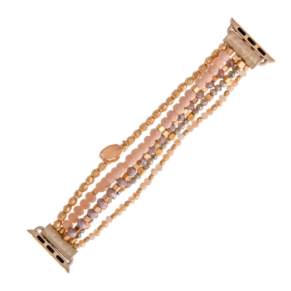 Wholesale interchangeable beaded stretch watch band smart watches faceted bead d