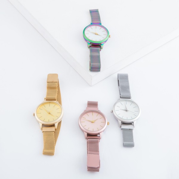 """Women's metal mesh band watch with magnetic closure.  - Adjustable Magnetic Closure - Case size 35mm in diameter - Band Width 12mm - Approximately 3"""" in diameter"""