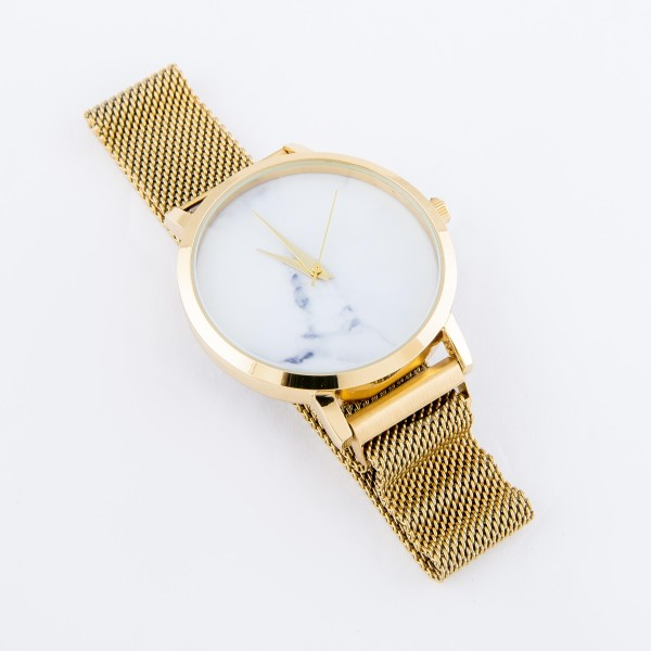 """Women's marble no number metal mesh band watch with magnetic closure.  - Adjustable Magnetic Closure - Case Size 35mm in diameter - Band Width 15mm - Approximately 3"""" in diameter"""