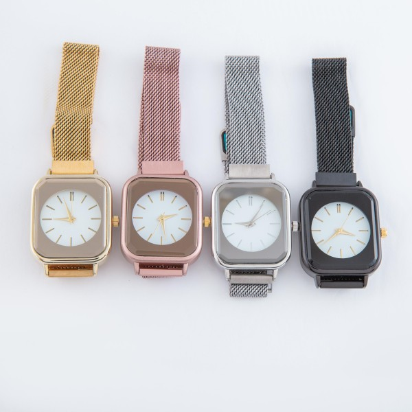"""Women's metal mesh band square'd case watch with magnetic closure.  - Adjustable Magnetic Closure - Case Size 42mm - Band Width 12mm - Approximately 3"""" in diameter"""