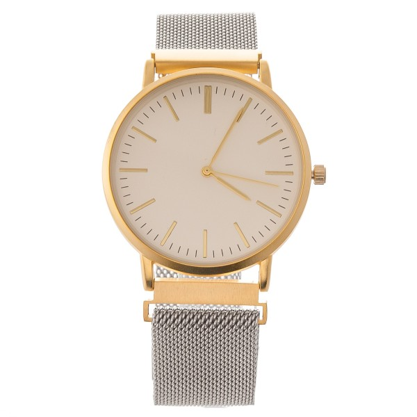 """Women's metal mesh band watch with magnetic closure.  - Adjustable Magnetic Closure - Case Size 42mm in diameter - Band Width 24mm - Approximately 3"""" in diameter"""