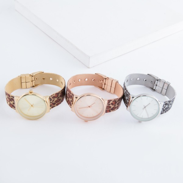 """Women's leopard print metal mesh band watch with adjustable closure.  - Adjustable closure - Case Size 30mm in diameter - Band Width 12mm - Approximately 3"""" in diameter"""