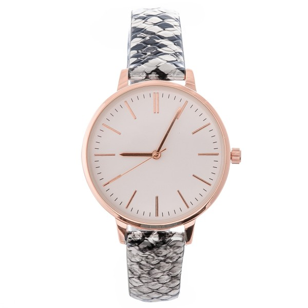 "Women's faux leather snakeskin band watch with adjustable closure.  - Adjustable closure - Case Size 35mm in diameter - Band Width 10mm - Approximately 3"" in diameter"