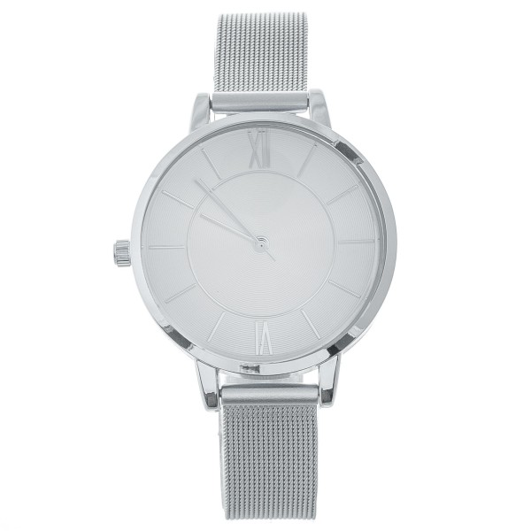"""Women's metal mesh band watch with adjustable closure.  - Adjustable closure - Case Size 35mm in diameter - Band Width 12mm - Approximately 3"""" in diameter"""