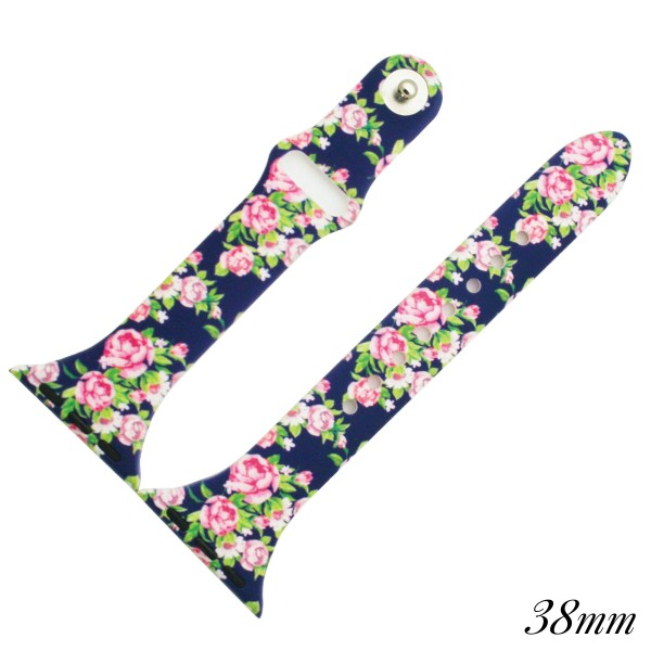 "Interchangeable Navy Floral Silicone Watch Band for Smart Watches Only.  - Fits 38mm Watch Face - Adjustable Band - Approximately 3"" in Diameter - Band Width: .5"""