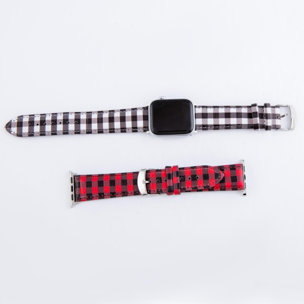 "Interchangeable Faux Leather Buffalo Check Watch Band for Smart Watches Only.  - Fits 42mm Watch Face - Adjustable Band - Approximately 3"" in Diameter - Fits up to an 8"" Wrist"