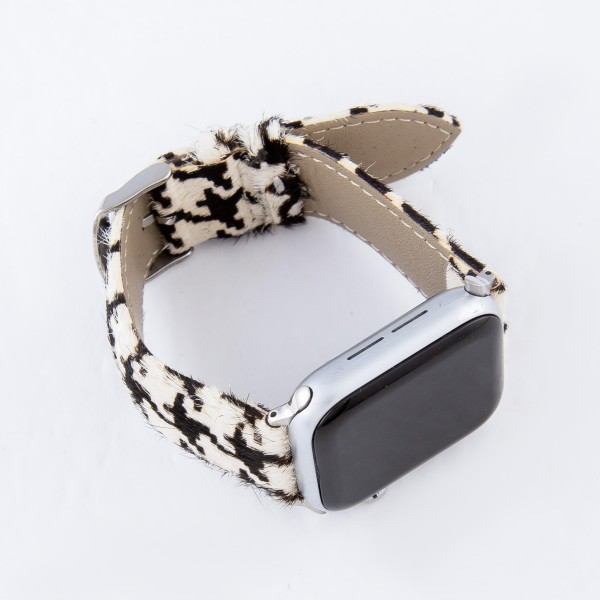 "Interchangeable Faux Leather Houndstooth Watch Band for Smart Watches Only.  - Fits 38mm Watch Face - Adjustable Band - Approximately 3"" in Diameter - Fits up to an 8"" Wrist"