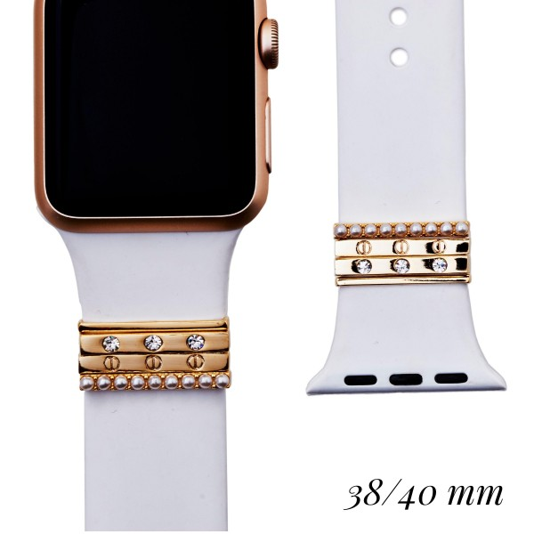 """Interchangeable Silicone Printed Smart Watch Band Featuring Metal Accents for Smart Watches Only. Fits 38/40MM Smart Watches.  - Fits 38mm/ 40mm Watch Face - Band Width: 1"""" - Approximately 3"""" in Diameter - Adjustable Band"""