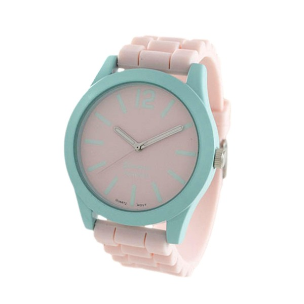 Wholesale watch Silicone Band Geneva Platinum Stainless Steel Watch