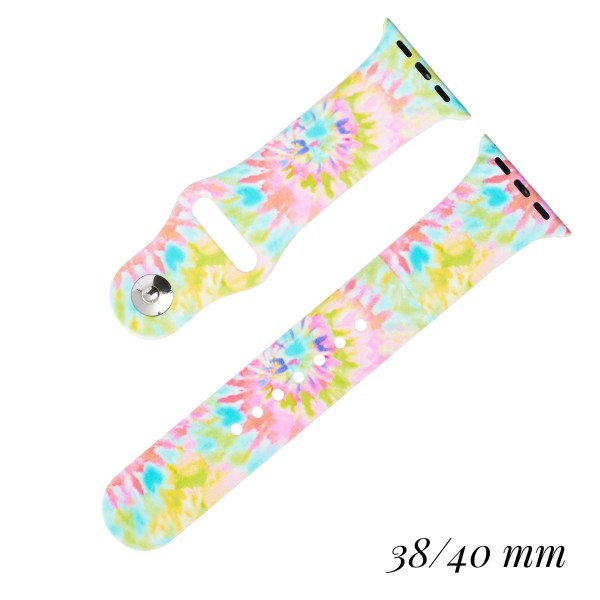 """Interchangeable Silicone Printed Smart Watch Band for Smart Watches Only. Fits 38/40MM Smart Watches.   - Fits 38mm/ 40mm Watch Face - Band Width: 1"""" - Approximately 3"""" in Diameter - Adjustable Band"""