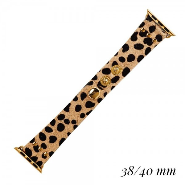 """Interchangeable Animal Print Smart Watch Band for Smart Watches Only. Fits 38/40MM Smart Watches.  - Fits 38mm/ 40mm Watch Face - Band Width: 1"""" - Adjustable Band - Snap Closure - Approximately 3"""" in Diameter"""