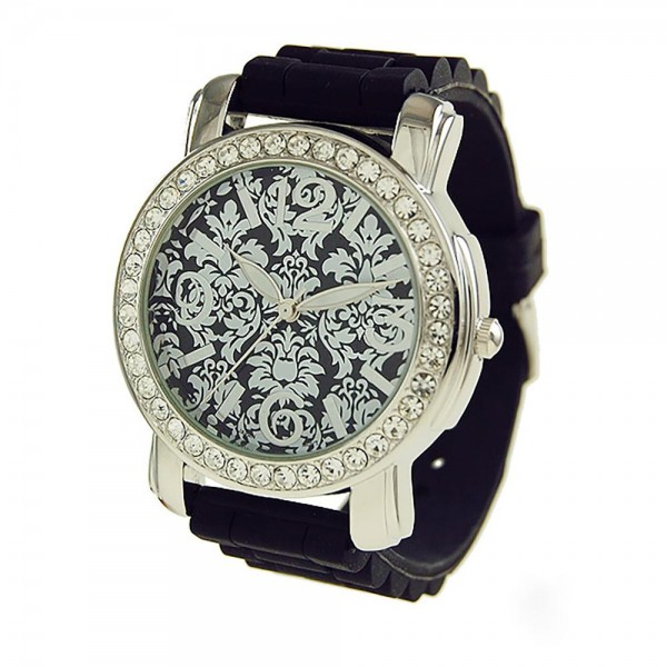 """Watch Featuring Silicone Band and Geneva Platinum Stainless Steel Watch Face with CZ Accents.  - Band Approximately 9.5"""" in Length - Watch Face Approximately 1.75"""" in Diameter"""