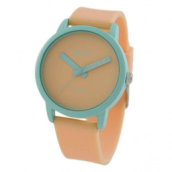 Peach / Mint WATCH Featuring Silicone Band and Geneva Platinum Stainless Steel WATCH Face. - Band Ap