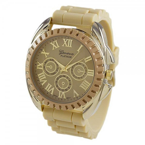 Bone WATCH Featuring Silicone Band and Geneva Platinum Stainless Steel WATCH Face. - Band Approximat