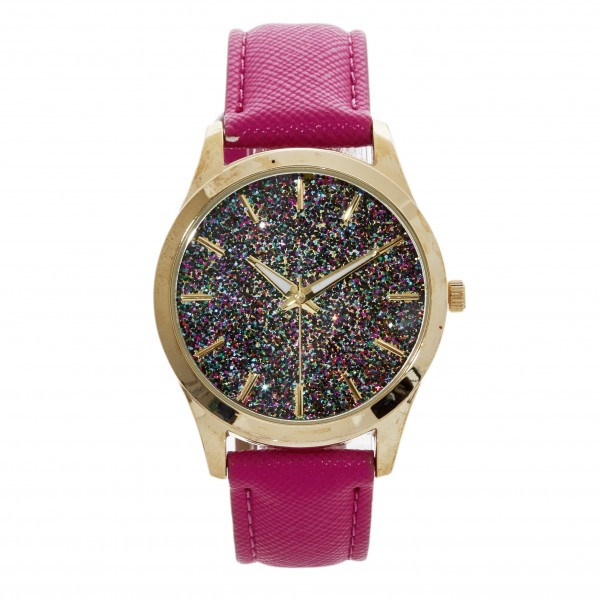 """Watch Featuring Leather Band and Geneva Platinum Stainless Steel Watch Face with Glitter Accents.  - Band Approximately 9.5"""" in Length - Watch Face Approximately 1.5"""" in Diameter"""