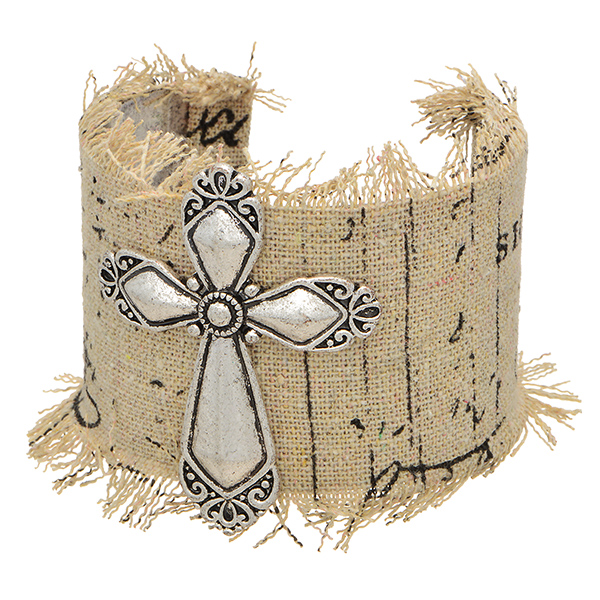 Wholesale silver cuff bracelet wrapped fabric cross