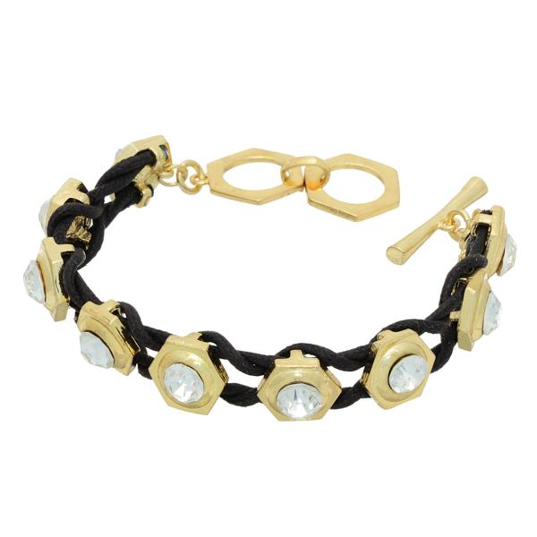 Wholesale black cord bracelet gold castings rhinestone accents