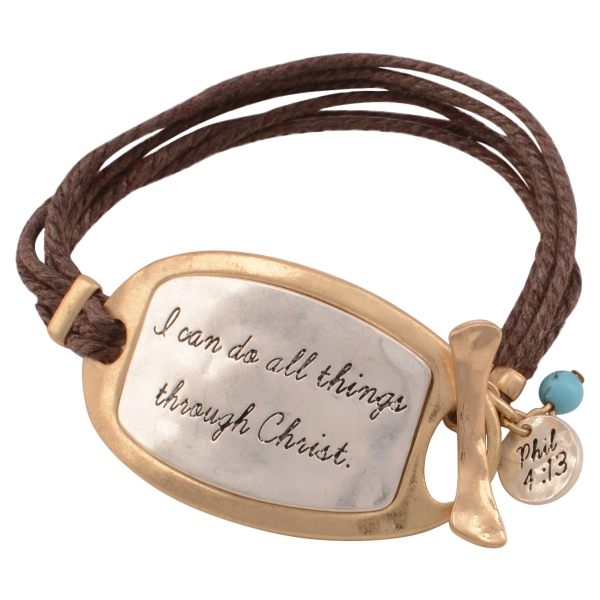 Wholesale brown chord toggle bracelet two plate stamped I can do all things thro