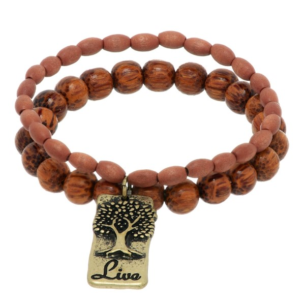 Wholesale brown wood beaded stretch bracelet burnished gold plate tree stamped L