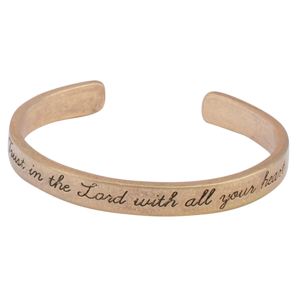 Wholesale worn gold cuff bracelet stamped Trust Lord all heart