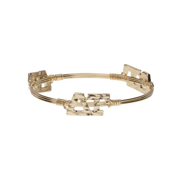 Wholesale gold Delta Gamma wire wrapped bangle bracelet