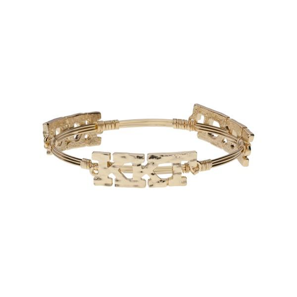Wholesale gold Kappa Kappa Gamma wire wrapped bangle bracelet