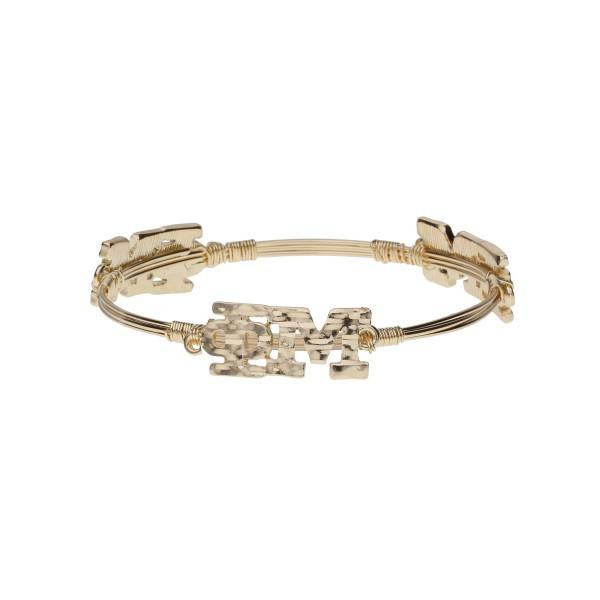Wholesale gold Phi Mu wire wrapped bangle bracelet