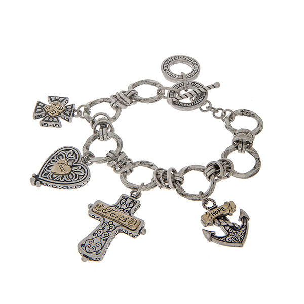 Wholesale two toggle bracelet cross heart anchor charms