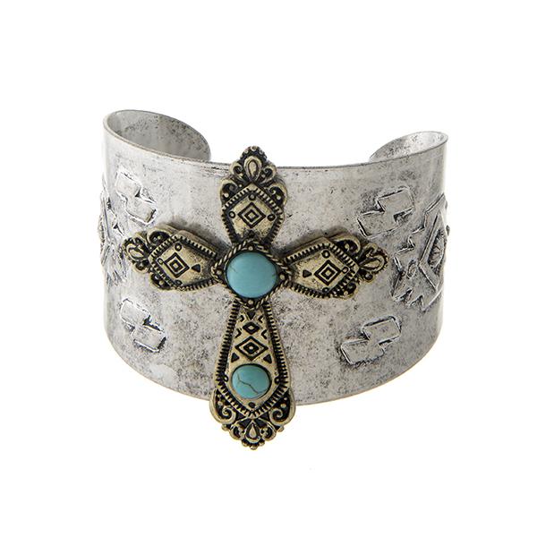 Wholesale burnished silver tribal inspired cuff bracelet displaying burnished go
